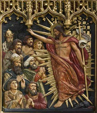 An altar reredos at All Souls College Chapel in Oxford, England, depicts Jesus freeing the Jewish Patriarchs in hell.